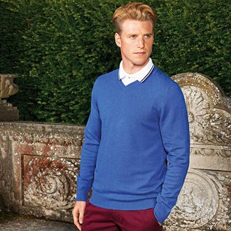 9 Colours Asquith /& Fox Mens Cotton Blend V Neck Sweater