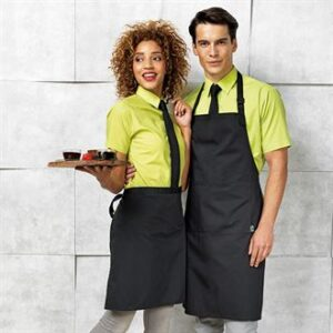 100% certified Fairtrade Cotton. Premier bib apron (PR112) and mid length apron (PR114)